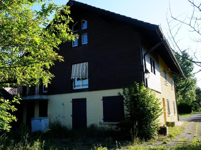 Villa avec mur en bois et pierre avec arbre en avant plan