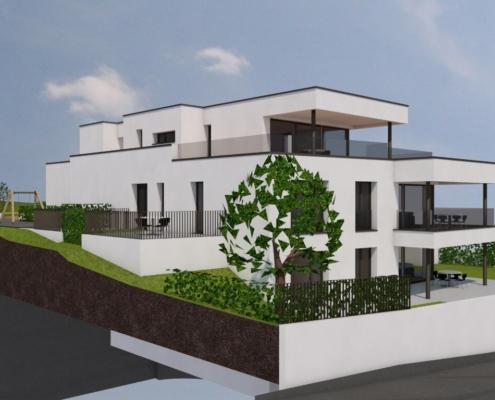 Image de synthèse d'un immeuble blanc de 3 étages avec baies vitrées et terrasses sombres, entouré de verdure