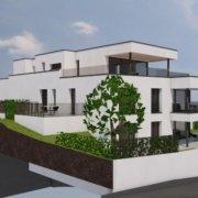 Image de synthèse d'un immeuble blanc de trois étages avec baies vitrées et terrasses sombres, entouré de verdure