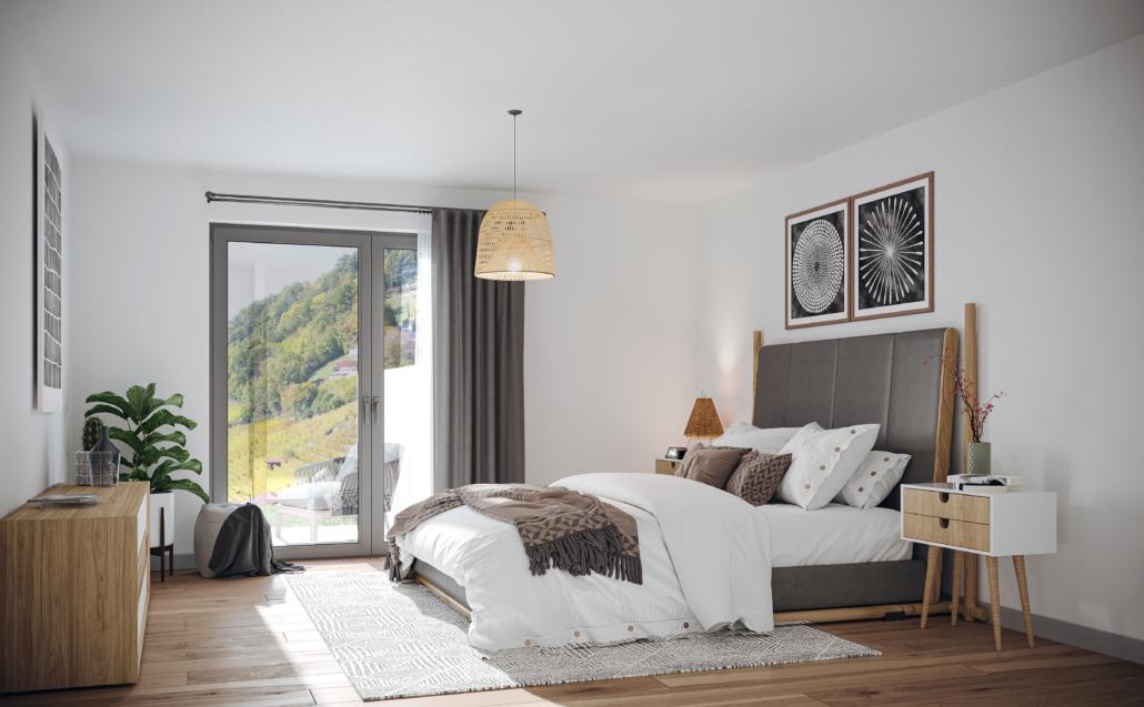 Chambre à coucher avec fenêtre et vue sur les vignes du Lavaux