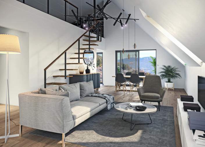 Grand séjour avec haut plafond et galerie qui donne sur le séjour